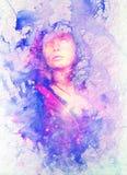 Donna della dea della pittura nello spazio cosmico Collage del computer e struttura del marmo illustrazione di stock