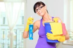donna della famiglia di pulizia Fotografie Stock Libere da Diritti