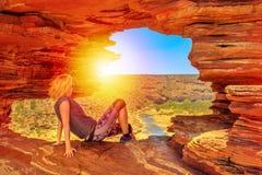 Donna della finestra della natura di Kalbarri fotografia stock