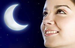 Donna della luna Immagini Stock Libere da Diritti