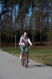 donna della montagna della bici Fotografie Stock