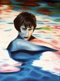 Donna della pittura che attacca dall'acqua Immagini Stock Libere da Diritti
