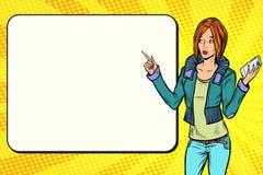 Donna della ragazza con il telefono sulla presentazione illustrazione vettoriale