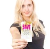 Donna della scheda di affare di vendita di acquisto Immagini Stock Libere da Diritti