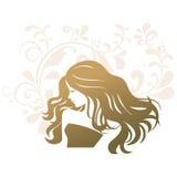 Donna della siluetta del salone di trattamento di bellezza Fotografia Stock