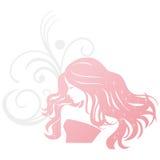 Donna della siluetta di lavoro di parrucchiere Fotografia Stock Libera da Diritti