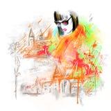 Donna della sorgente Bella donna di modo in via Autumn Abstract Colore di acqua dell'illustrazione Fotografia Stock Libera da Diritti