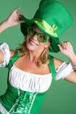 Donna della st Patricks di divertimento Fotografia Stock Libera da Diritti