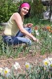 donna della verdura del giardino immagini stock libere da diritti