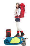 Donna della viandante con attrezzatura turistica isolata su fondo bianco Fotografia Stock Libera da Diritti