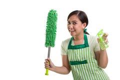 Donna delle pulizie allegra isolata Fotografia Stock