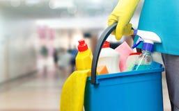 Donna delle pulizie con i prodotti di pulizia e di un secchio fotografia stock libera da diritti
