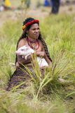 Donna delle tribù di Dani al festival annuale della valle di Baliem immagine stock