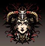 Donna dello sciamano con il cranio sulla sua testa illustrazione vettoriale