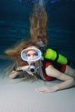 Donna dello scuba immagine stock