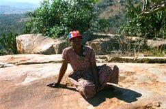 Donna dello Swazi, montagne di Hhenga, Swaziland Fotografia Stock