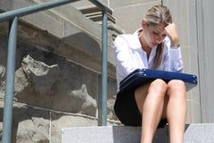 Donna depressa di affari Fotografia Stock