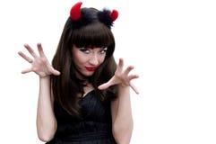 Donna Devilish con i corni che ringhia Fotografia Stock Libera da Diritti