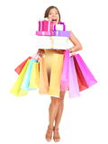 Donna di acquisto di Shopaholic Fotografie Stock Libere da Diritti