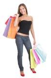 Donna di acquisto isolata Fotografia Stock
