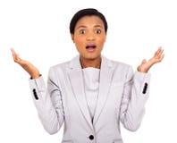 Donna di affari africana sorpresa Immagine Stock
