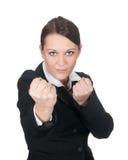Donna di affari aggressiva Fotografie Stock