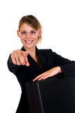 Donna di affari allegra Fotografie Stock Libere da Diritti