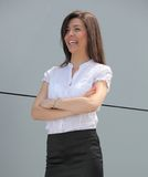 Donna di affari allegra Fotografia Stock Libera da Diritti
