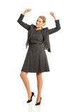 Donna di affari allegra Immagine Stock