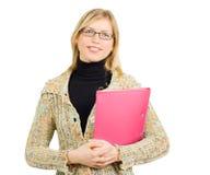 Donna di affari allegra con il dispositivo di piegatura di vetro Fotografia Stock