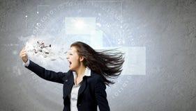 Donna di affari arrabbiata Immagini Stock Libere da Diritti