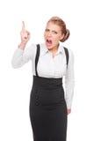 Donna di affari arrabbiata che agita la sua barretta Fotografie Stock Libere da Diritti