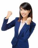 Donna di affari asiatica che ritiene eccitata Fotografie Stock
