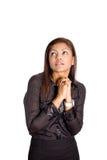 Donna di affari asiatica con il catenaccio di entrambe le mani insieme Fotografie Stock