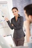 Donna di affari attraente che presenta nell'ufficio Immagine Stock