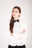 Donna di affari attraente con un'emicrania Fotografia Stock