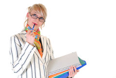 Donna di affari bionda Fotografie Stock Libere da Diritti