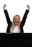 Donna di affari bionda emozionante Immagini Stock Libere da Diritti