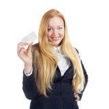 Donna di affari With Blank Card Immagine Stock