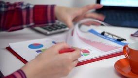 Donna di affari Calculates Earnings video d archivio