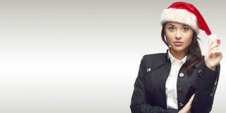 Donna di affari in cappello della Santa Immagini Stock Libere da Diritti