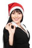 Donna di affari in cappello rosso che mostra il segno giusto Fotografia Stock Libera da Diritti