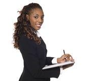 Donna di affari - catturare le note fotografia stock