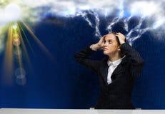Donna di affari che affronta i problemi Immagine Stock Libera da Diritti