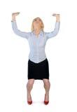 Donna di affari che alza qualcosa Fotografie Stock Libere da Diritti