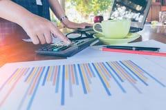 Donna di affari che analizza i grafici di investimento Immagini Stock