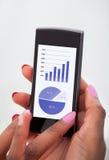Donna di affari che analizza i grafici finanziari Fotografia Stock