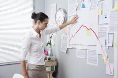 Donna di affari che analizza un grafico finanziario Immagini Stock