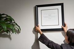 Donna di affari che appende certificato incorniciato fotografia stock libera da diritti