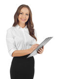 Donna di affari che cattura le note Fotografie Stock